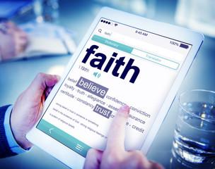 Man Reading the Definition of Faith