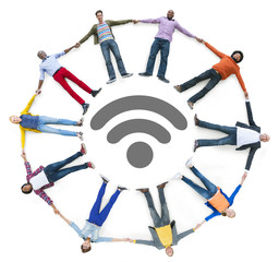 People Forming Circle and Wireless Technology