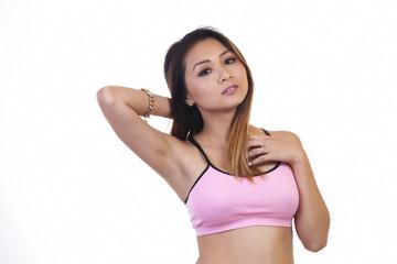 Skinny Asian American Woman Pink Exercise Top