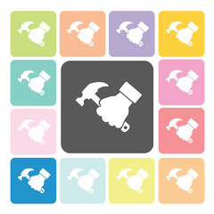 Hand holding a hammer Icon color set vector illustration.