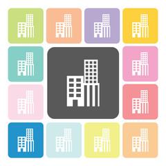 Building Icon color set vector illustration