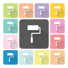 Paint roller Icon color set vector illustration