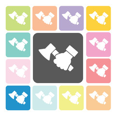 Hand holding a axe Icon color set vector illustration