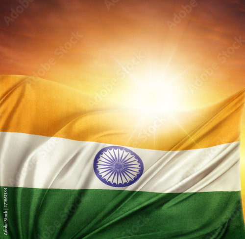 Poster India flag and sky