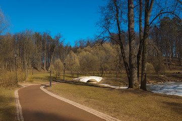 path in park in the spring afternoon