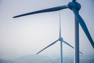 wind power generation turbine closeup