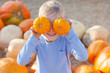 kid at pumpkin patch - 71862902