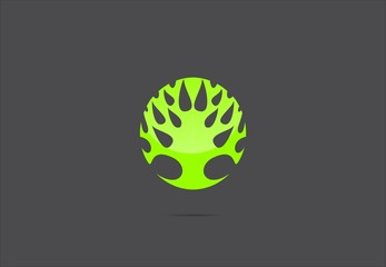Circle Tree Green Leaf vector logo design