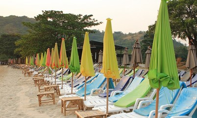 The Colorful umbrella on the beach in Thailand