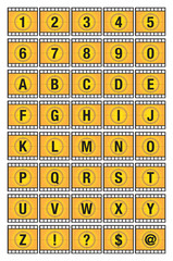 Film Strip Alphabets and Numbers Template