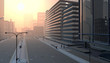 canvas print picture - Empty city street
