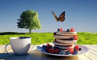 Breakfast on the grass.