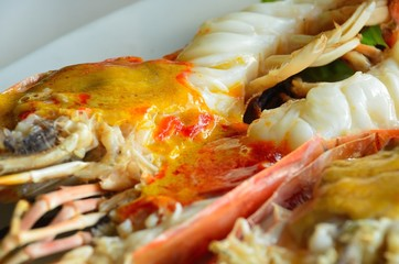 Grilled large river prawns