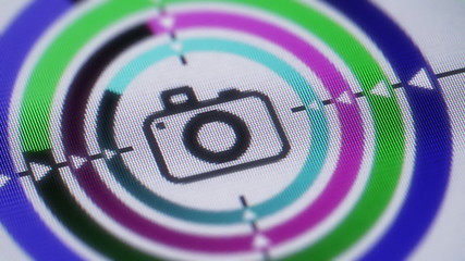 Camera icon on the screen. looping.