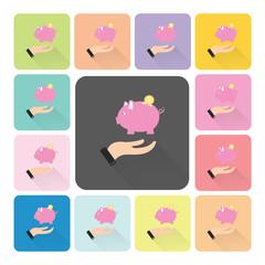 Hand holding piggy Icon color set vector illustration