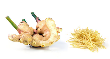 fresh ginger on a white background