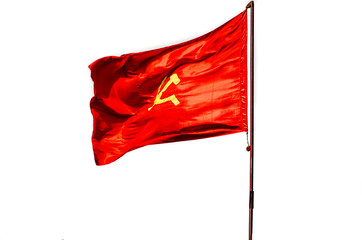 Vietnam flag waving on the sky. Promotional and advertisement el