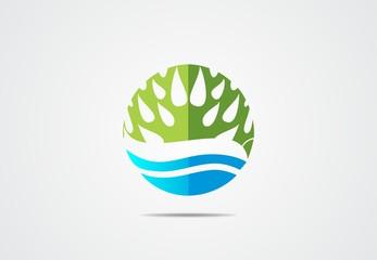 green Tree blue water leaf Eco symbol