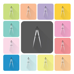 Compass Icon color set vector illustration