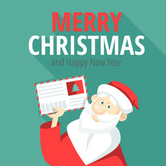 Cheerful Santa Claus with a letter in his hand