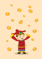 God of Wealth and Falling Gold Coins Chinese New Year Vector Ill