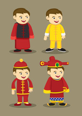Traditional Chinese Costumes and Accessories for Men Vector Illu