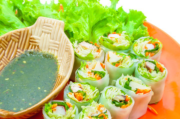 Delicious vietnamese spring roll with vegetable