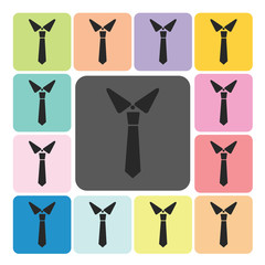 Tie Icon color set vector illustration