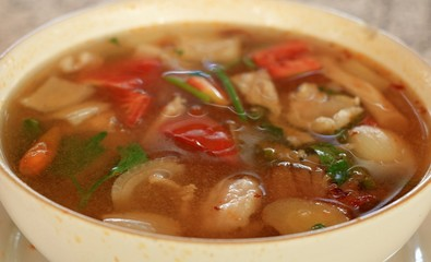 The Spicy Tom Yum Soup of  Thai Food