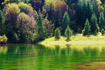 Kaindy green Lake in Tien Shan mountain, Kazakhstan. Autumn