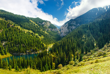 Kaindy Lake in Tien Shan mountain, Kazakhstan. Top view