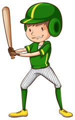 A baseball player in green uniform