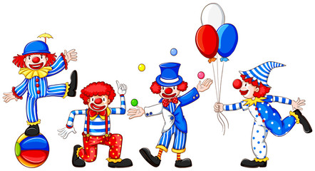 A sketch of a group of clowns