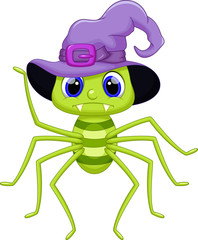 Cute spider cartoon wearing a hat