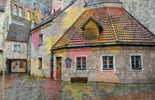 Medieval buildings in the old city of Riga, Latvia - 71865587