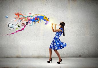 Woman playing fife