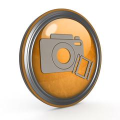 camera circular icon on white background
