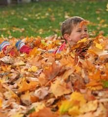Boy in leaf pile