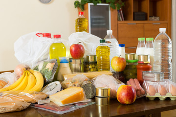 Still life with foodstuffs of supermarket