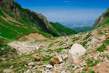 View to Almaty city from mountains
