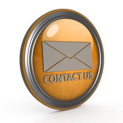 Contact us circular icon on white background