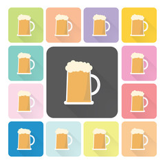 Beer Icon color set vector illustration