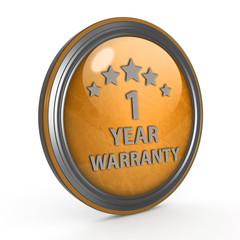 One year warranty circular icon on white background