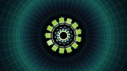Geometric wireframe seamless tunnel loop