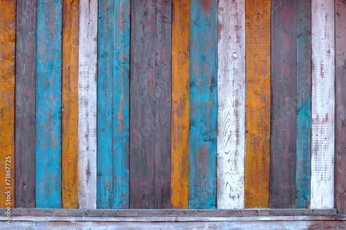 Fototapeta Colorful Wooden Plank Panel