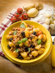 homemade gnocchi with ragout sauce
