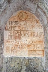medieval latin inscription outside italian church