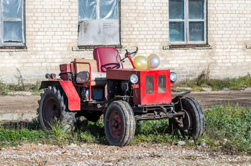 Old red russian tractor