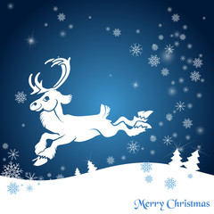 Christmas background with snowflakes and reindeer.