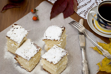 sponge cake with a cup of tea